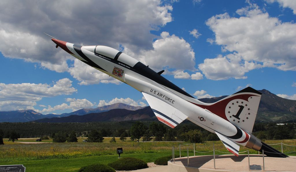 The Northrop T-38 Talon was selected as the U.S Air Force Thunderbirds aircraft in 1974. This Talon is placed at Thunderbird Overlook as a memorial to four pilots who died in a horrific January 1982 training crash.