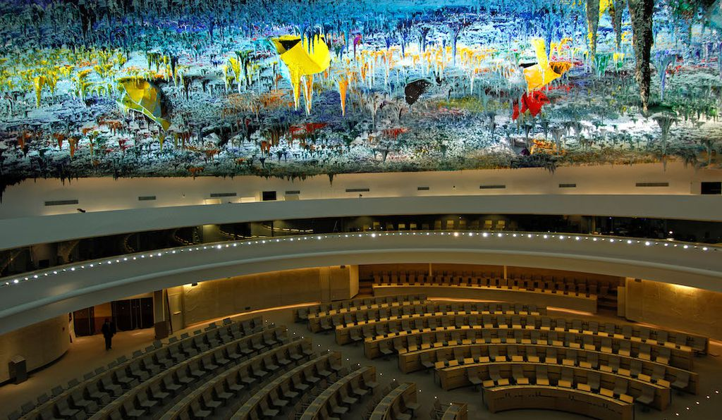 United Nations Office, Switzerland. The ceiling represents the geography of the Earth's nations in 35 tons of paint, comprising pigments gleaned from rocks from around the globe.