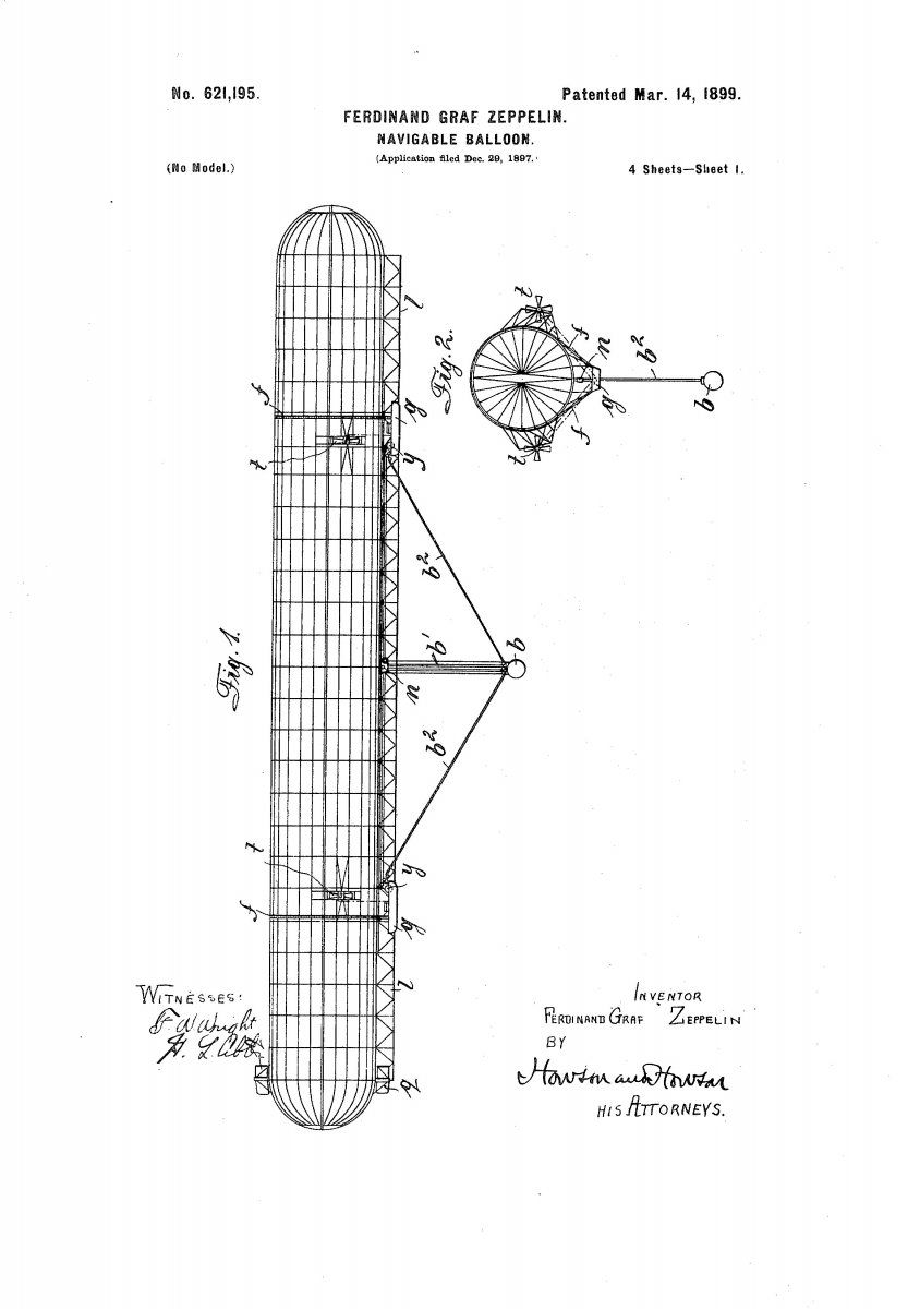 Image of the US Patent that Zeppelin was awarded in 1899.