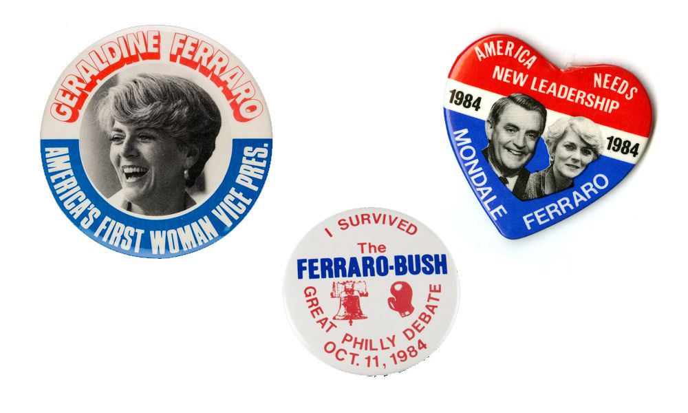 campaign buttons-- one of Ferraro, one from the debate, and one for the Mondale-Ferraro ticket