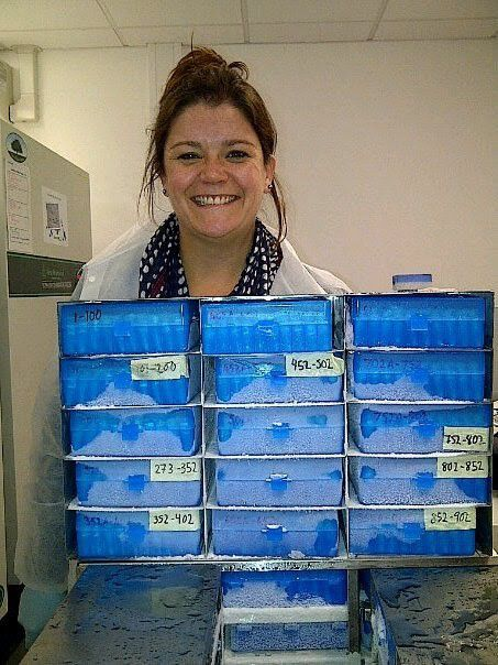 A person with a stack of blue boxes.