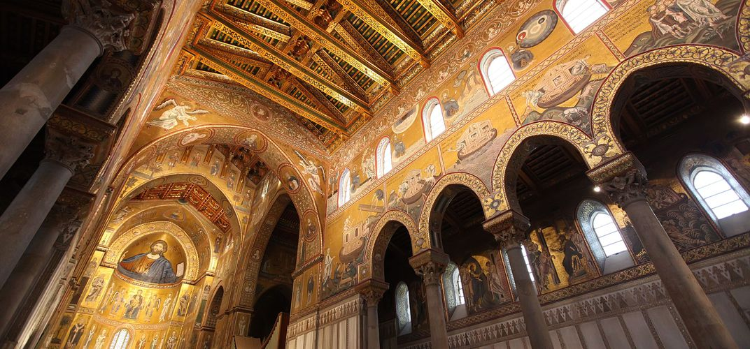 The famous mosaics within the cathedral at Monreale