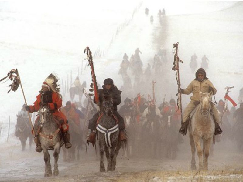 The Centennial Ride to Wounded Knee, December 29, 1990. Photograph by James Cook.