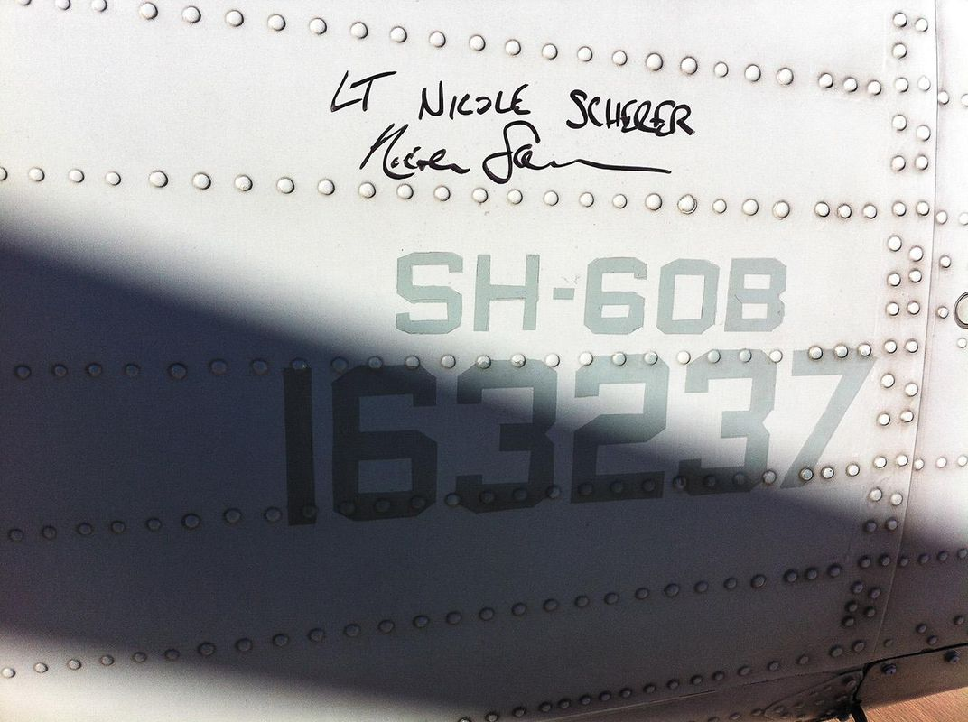 crewmates signed the tails of the two Seahawks