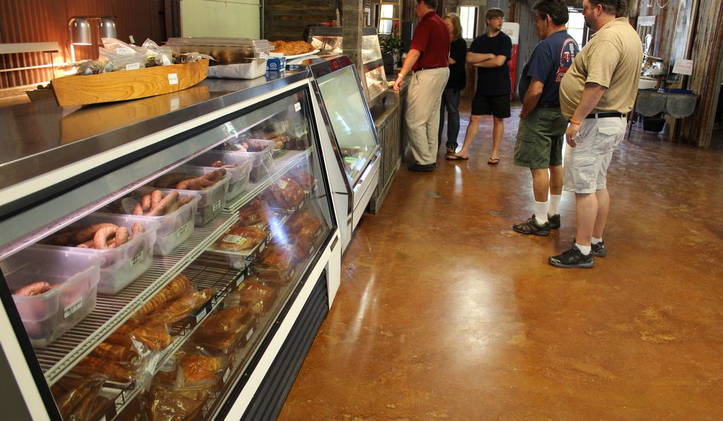 Patrons line up for a taste of boudin at Bergeron's Boudin and Cajun Meats in Shreveport, Louisiana.