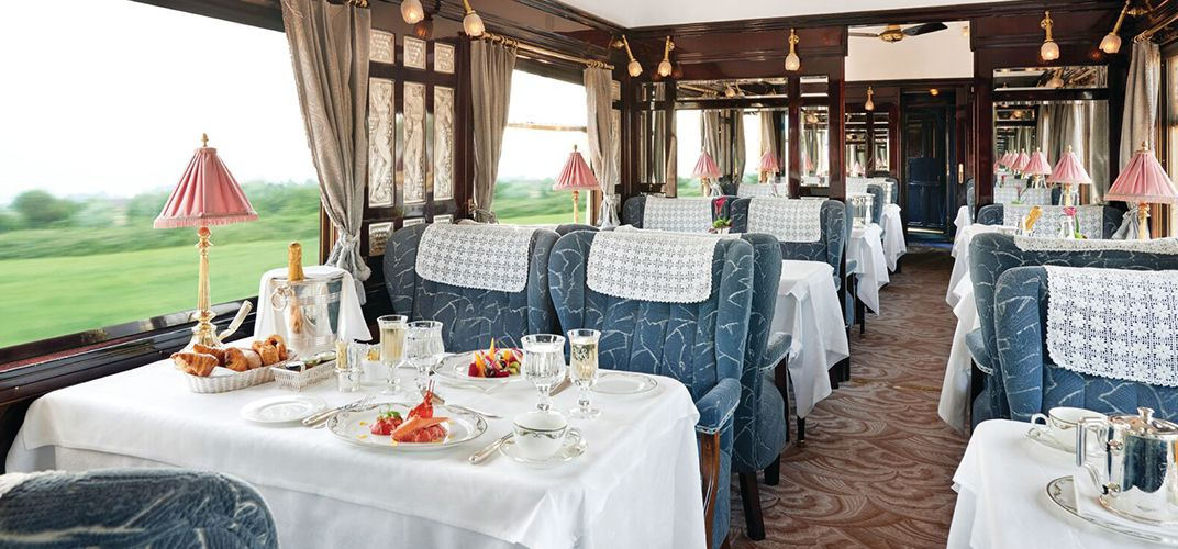 Dining car aboard the Venice Simplon-Orient-Express