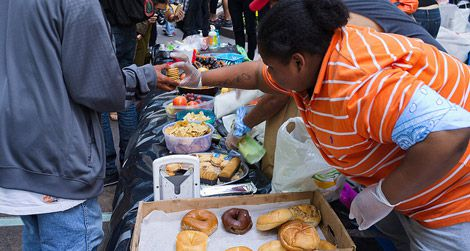 A food distribution line at the Occupy Wall Street protests in Manhattan