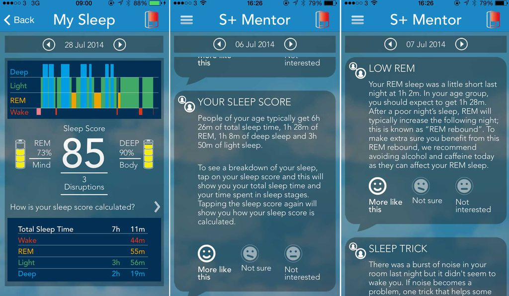 The S+ app gives users a snapshot of their sleep (left), shows them what their baseline should be (middle), and offers suggestions for a better snooze (right).