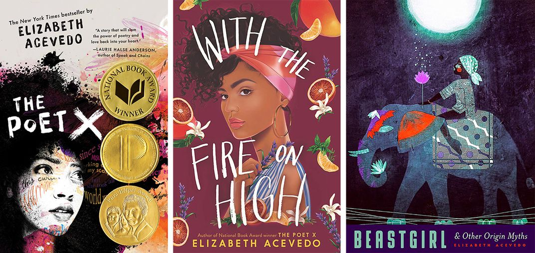 Three book covers side by side, all by author Elizabeth Acevedo: THE POET X, WITH THE FIRE HIGH, and BEASTGIRL.