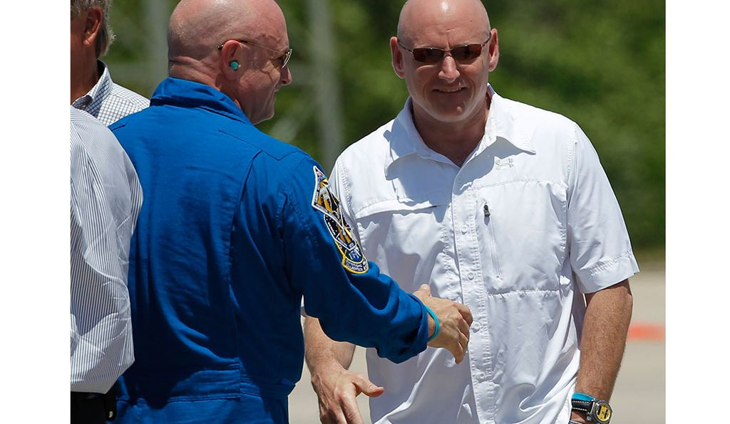 Mark Kelly (left) and Scott Kelly (right), shown here in 2011, are the only twins to have flown in space.