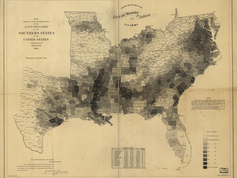 the us coast survey map calculated the number of slaves in each county in the united states in 1860 library of congress