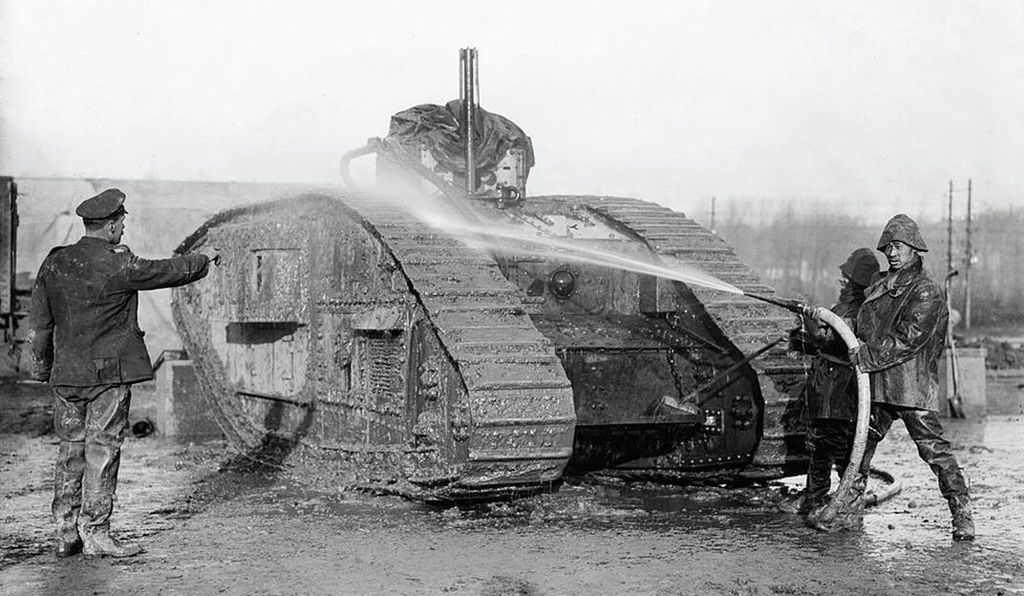 Chinese laborers filled a number of positions in World War I, including at tank facilities like this one.