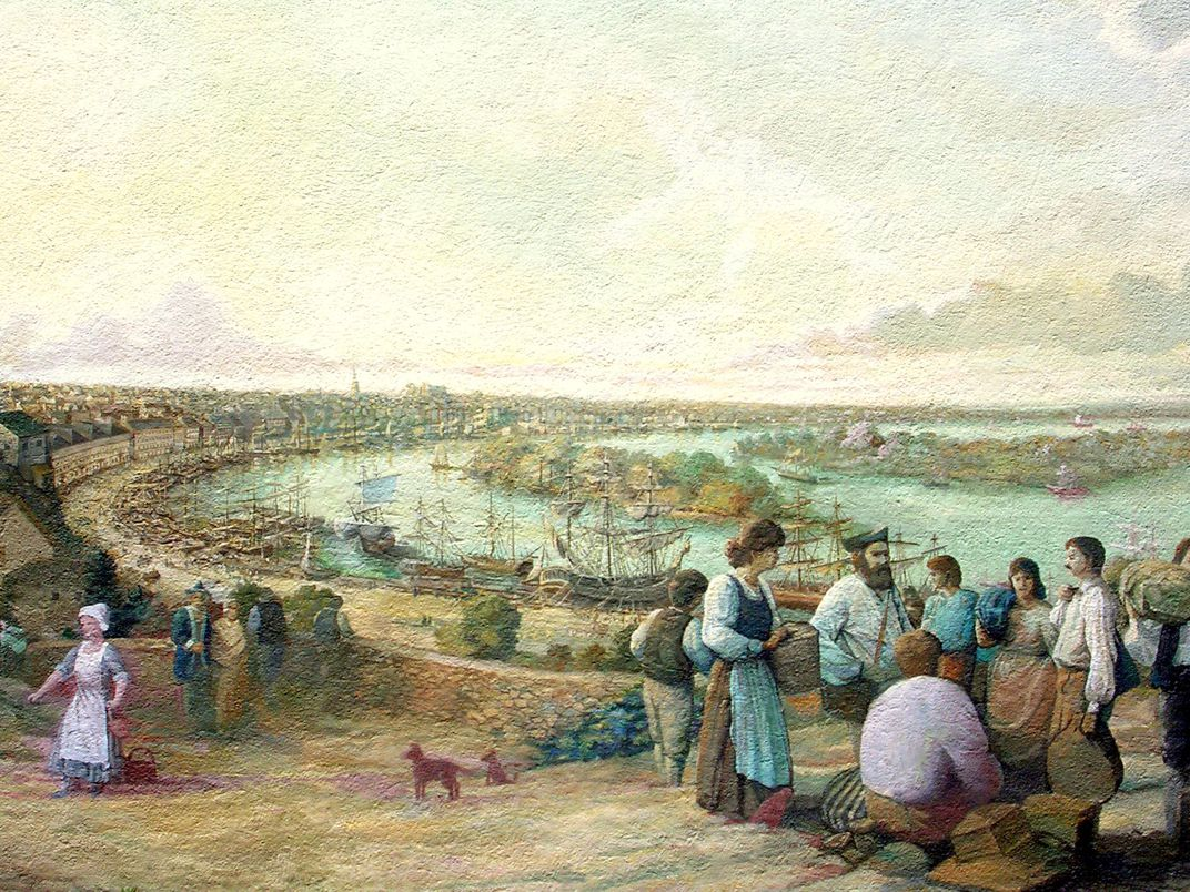 Detail of painting depicting the expulsion of Acadians from Nova Scotia