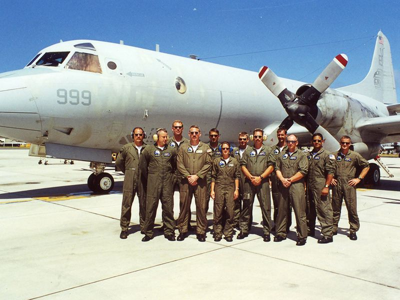 "The author's Lockheed P-3C Orion in Hawaii in 2000, with Combat Aircrew One. ""You can clearly see the grime and dirt, especially on the nacelle,"" he says."