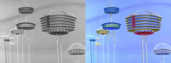 Establishing shot from the Jetsons