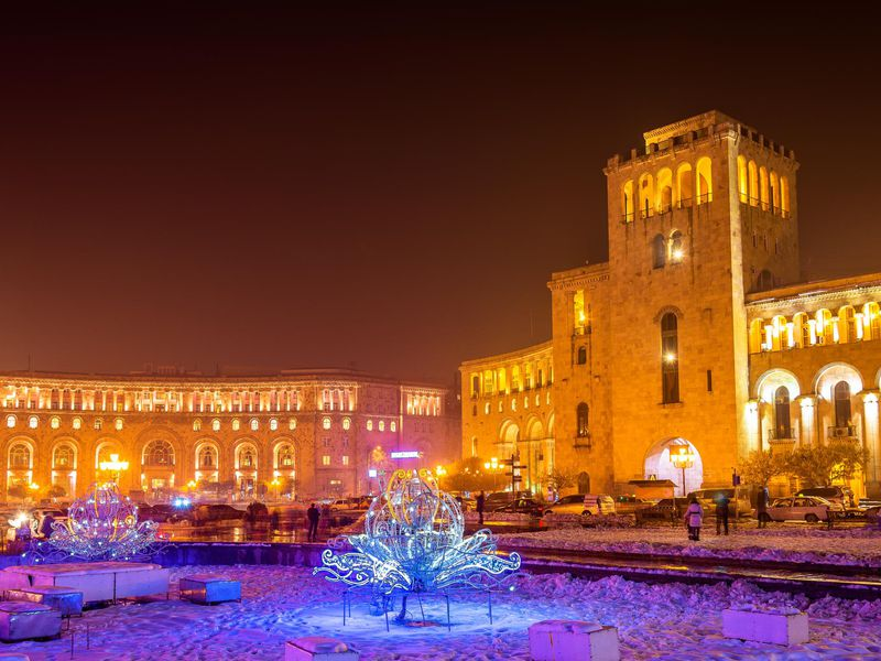 republic square decorated for christmas yerevan - When Is Armenian Christmas
