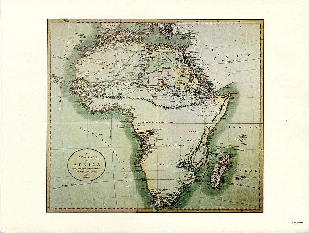 Page from Polished Ambers advertising book showing a map of Africa.