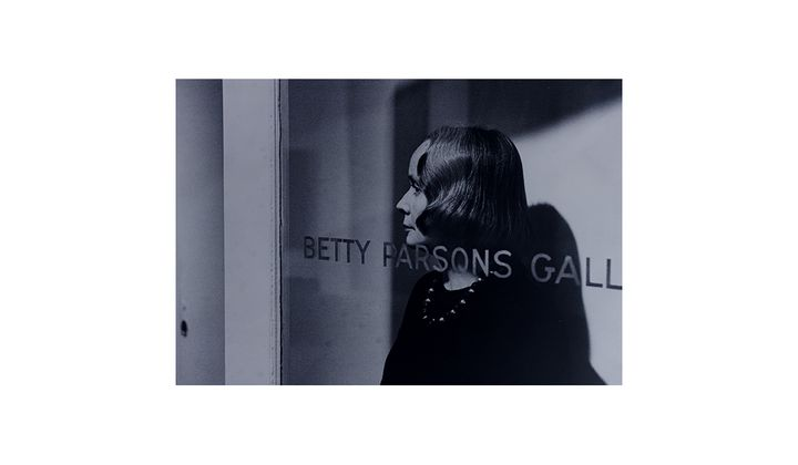 Betty Parsons standing in the doorway of her gallery, 196-? / unidentified photographer. Betty Parsons Gallery records and personal papers, circa 1920-1991, bulk 1946-1983. Archives of American Art, Smithsonian Institution.