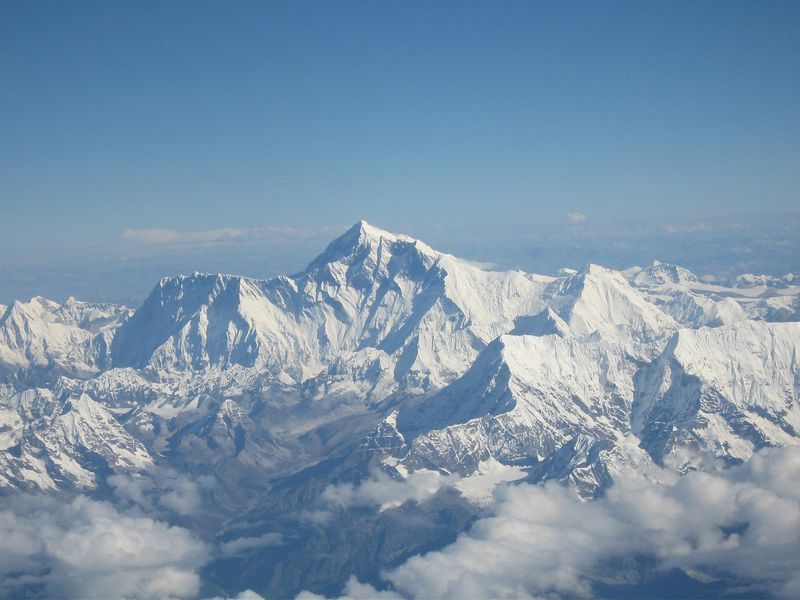 A photo of Mount Everest covered in snow, taken from an aircraft