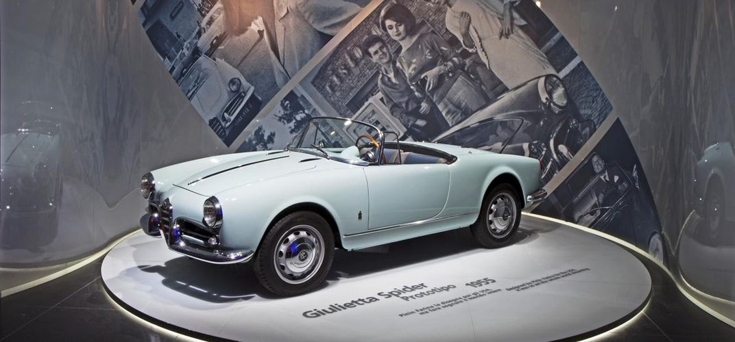 Display of a 1955 Giulietta Spider. Credit: Alfa Romeo Museum