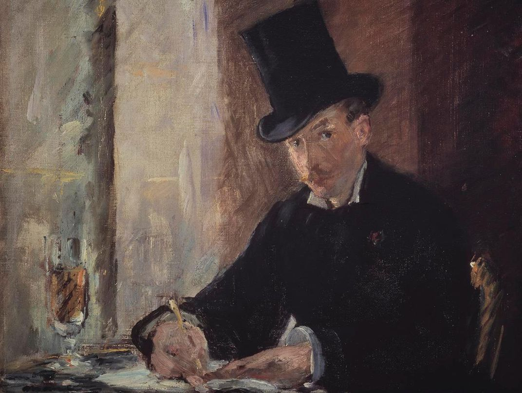 An oil painting of a white man in a black suit and a black hat, writing a letter and looking at the viewer