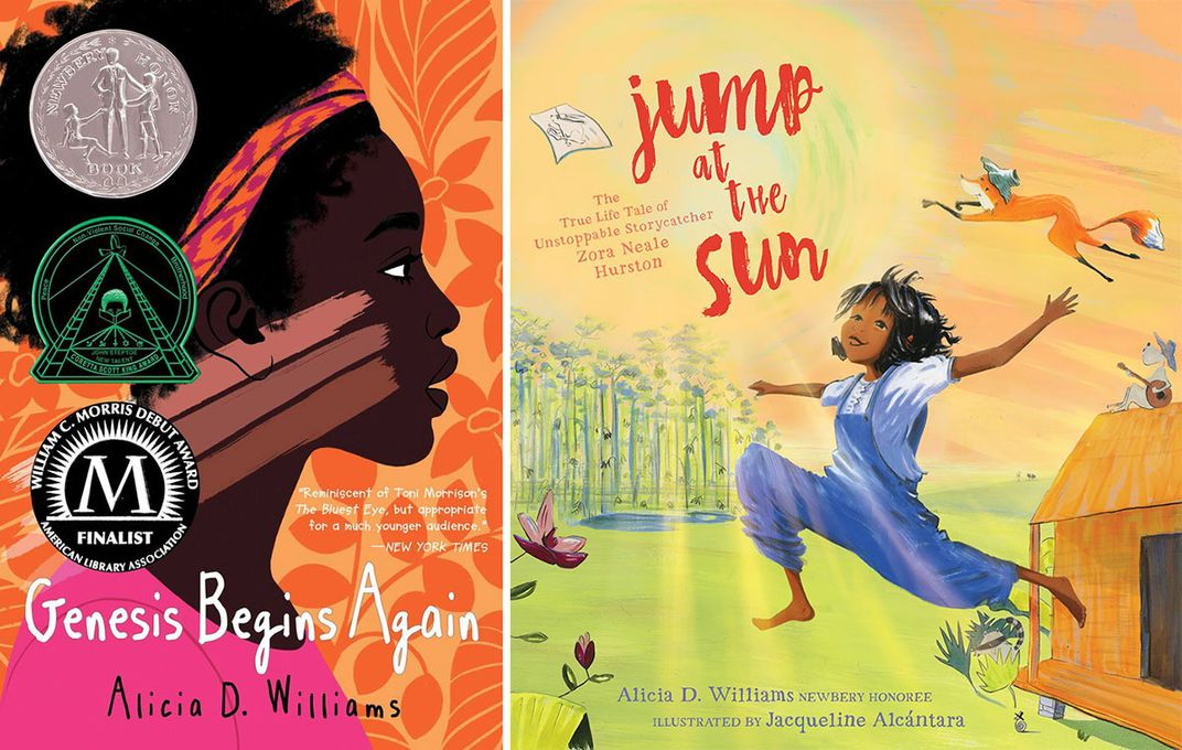 Two children's book covers side by side. On the elft: Genesis Behinds Again, with an illustration of a young Black girl on a floral pattern background. On the right, Jump at the Sun, with an illustration of a Black girl jumping outdoors.