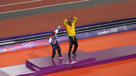 Farah and Bolt mimic one another's classic poses
