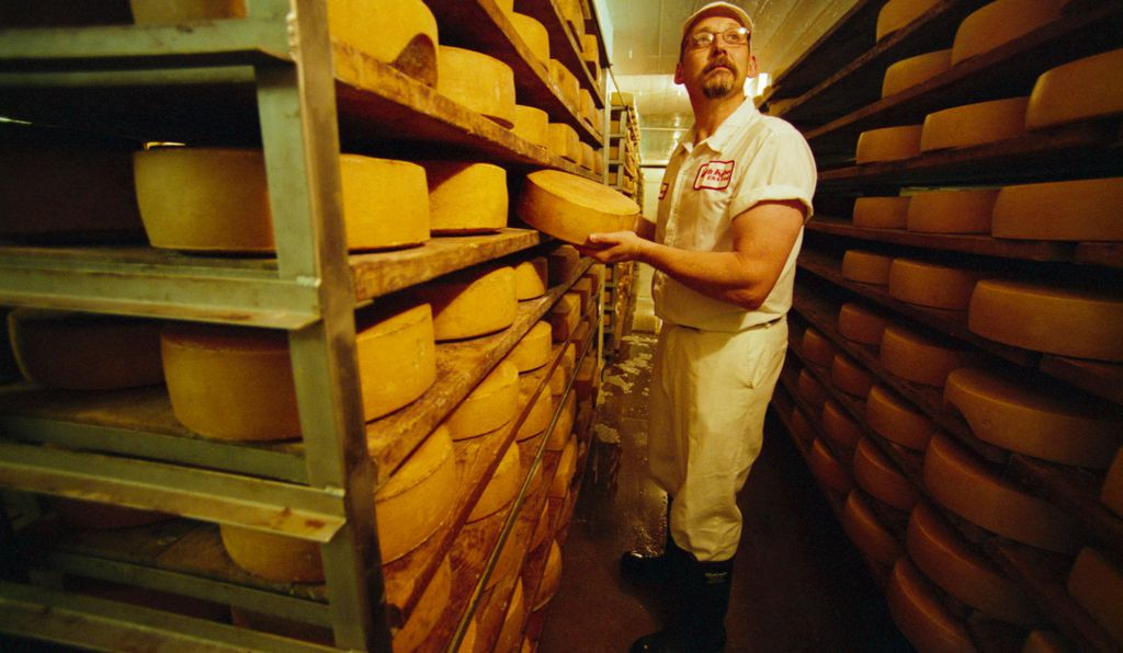 Bruce Workman, former master cheesemaker at the famed Roth Kase cheese company, racks 18-pound wheels of Grand Cru Gruyere cheese for drying at the Roth Kase plant in Monroe, Wisconsin.