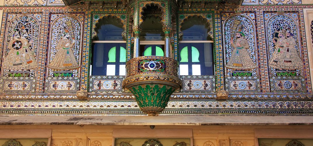 Architectural details, City Palace courtyard, Udaipur