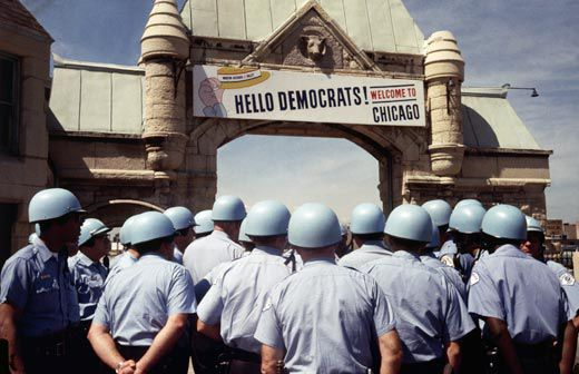 Inside The Convention Hall Delegates Battled Over Vietnam War And Power Of Party Establishment Outside Chicago Police Prepared For A Parallel