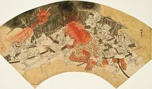 19th century fan painting by Kawanabe Kyosai