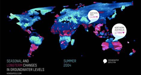 Image from an animated graphic showing satellite readings of groundwater fluctuations around the world.