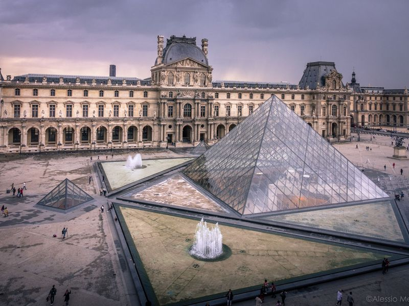 Aerial view of the Louvre Museum