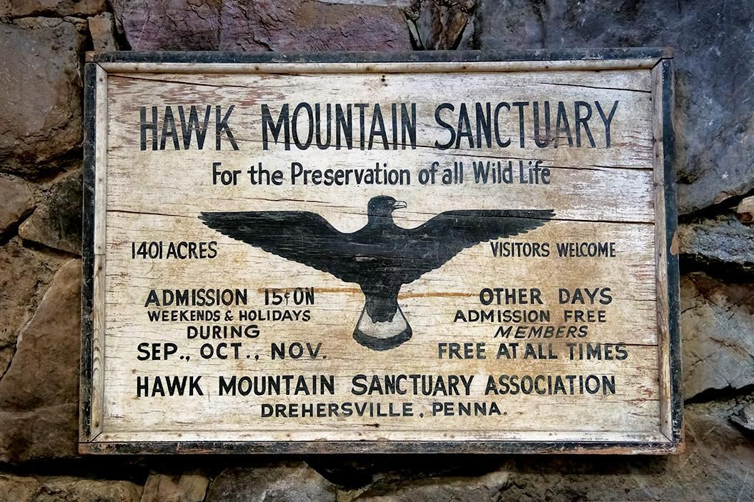 A Hawk Mountain sign from the 1930s