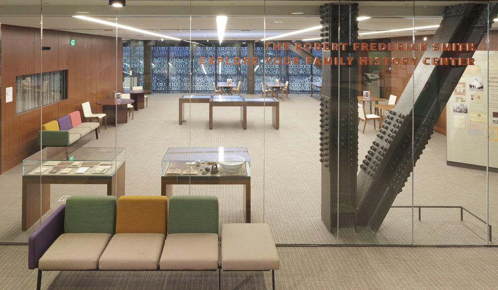 The Robert Frederick Smith Explore Your Family History Center is a room at the museum much like a library, with several computers where visitors can receive guidance on researching their family history and conducting oral interviews.