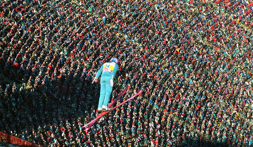 Edwards soared over the crowd, but finished last, at the 1988 Winter Games in Calgary.