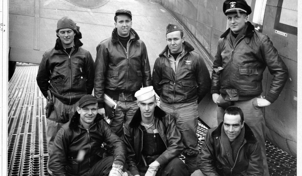 "On May 19, 1944, Lewis ""Pat"" Patteson (back row, second from right) and his crewmates gathered near their PV-1 Ventura. They were part of VB-135 (Bombing Squadron 135), the first Navy PV-1 squadron in the Pacific and the western Aleutian Islands."