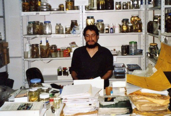 David de Santana surrounded by jars of preserved fishes in a laboratory at the Instituto Nacional de Pesquisas da Amazônia.