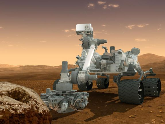 Artist rendering of Curiosity cruising the Martian surface