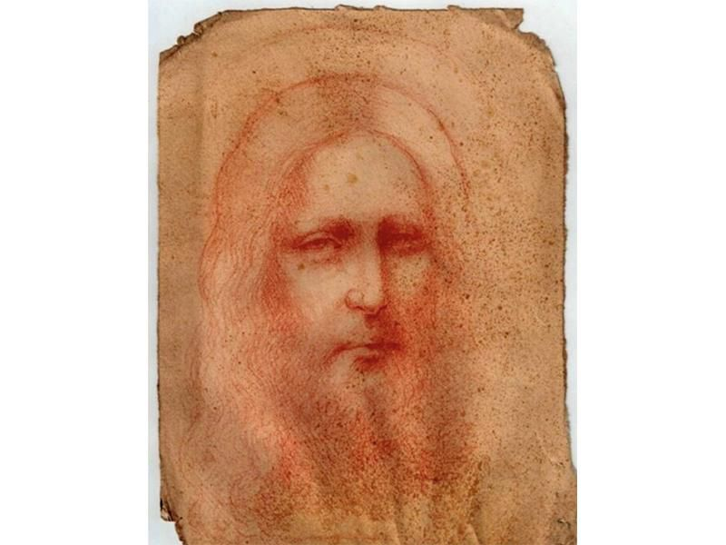 Red chalk drawing of Jesus, potentially attributed to da Vinci