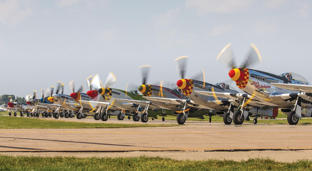 a row of P-51 pilots