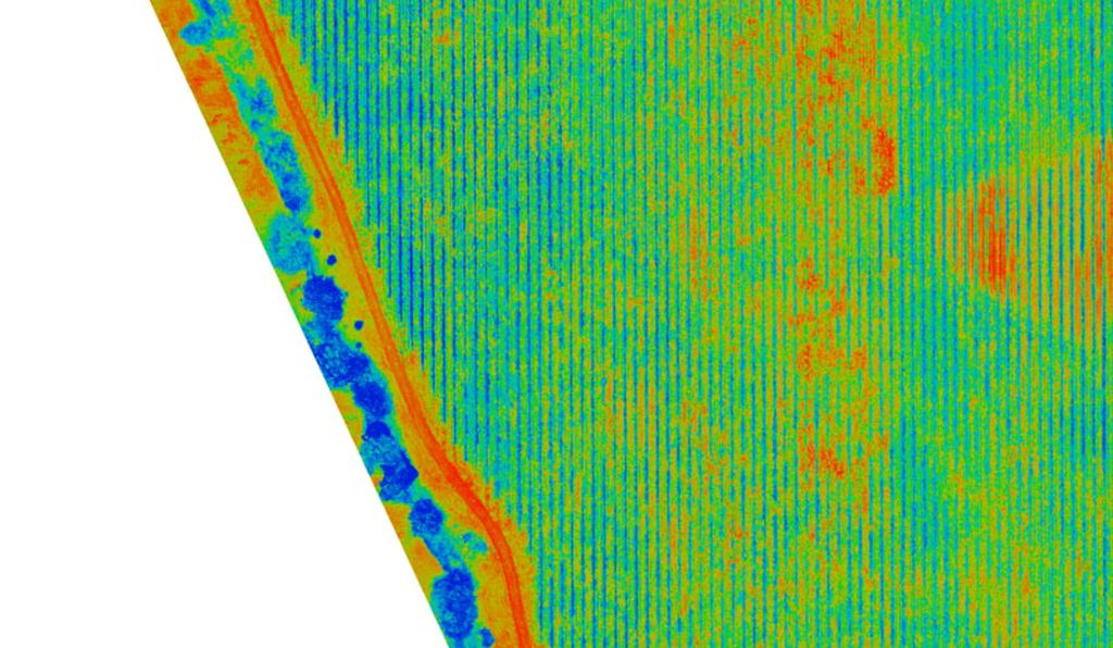 Normalized difference vegetation index map of the vineyard. Scout will automatically image, process, and upload this data without any human intervention, allowing farmers to easily see where their attention is needed.