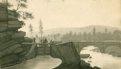 Image: Old drawings depict early days on the Erie Canal