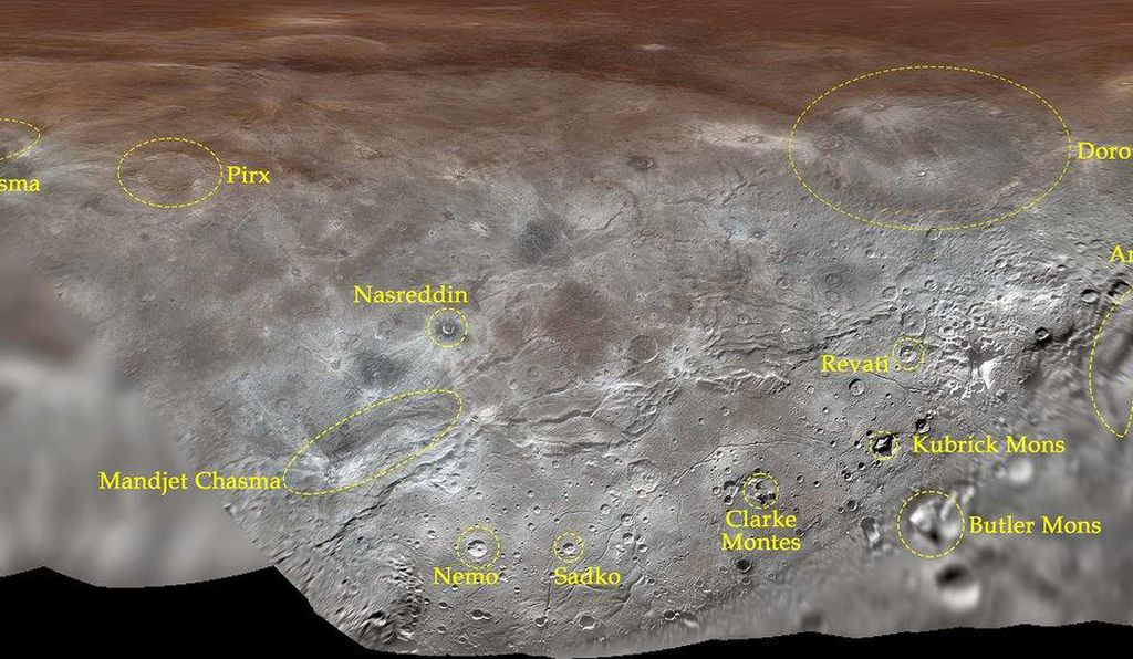 A map of the newly named features on Pluto's largest moon, Charon.