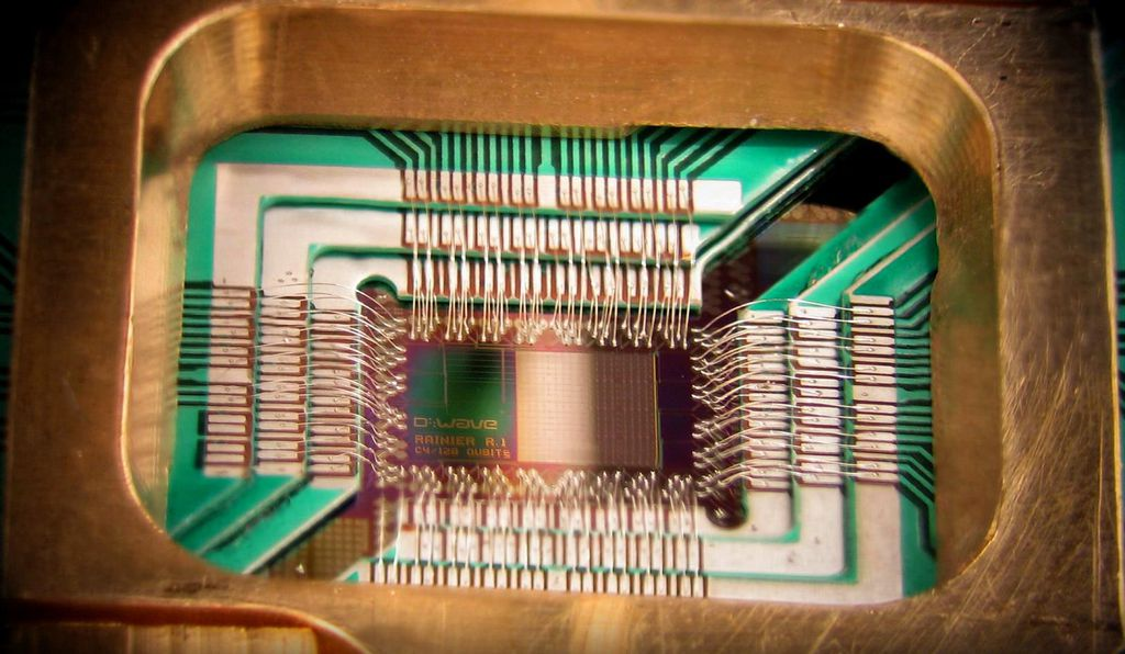 Closeup of a D-Wave One computer chip.