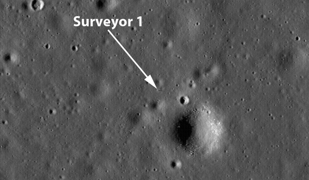 LRO Narrow Angle Camera view of the Surveyor 1 site. The spacecraft location is shown by the arrow, and its cast shadow is evident.