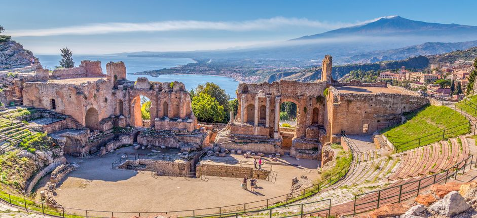Palermo and Taormina <p>At the crossroads of the Mediterranean, Sicily reflects a fascinating blend of cultural influences—from the Greeks, Romans, Moors, and Normans to later civilizations. Explore this fascinating island staying in the upscale hotels of the Mercure Palermo Excelsior City in Palermo and the Grand Hotel Atlantis Bay in Taormina a Mare.</p>