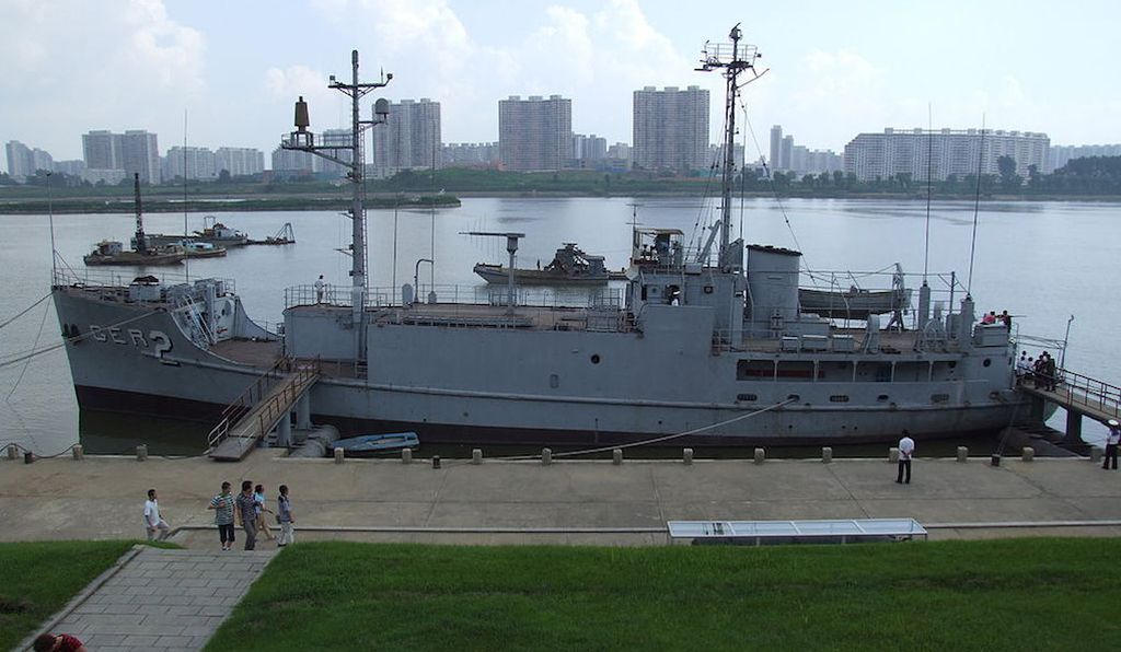 The USS Pueblo on display in North Korea, where it has remained as a tourist attraction since its capture in 1968.