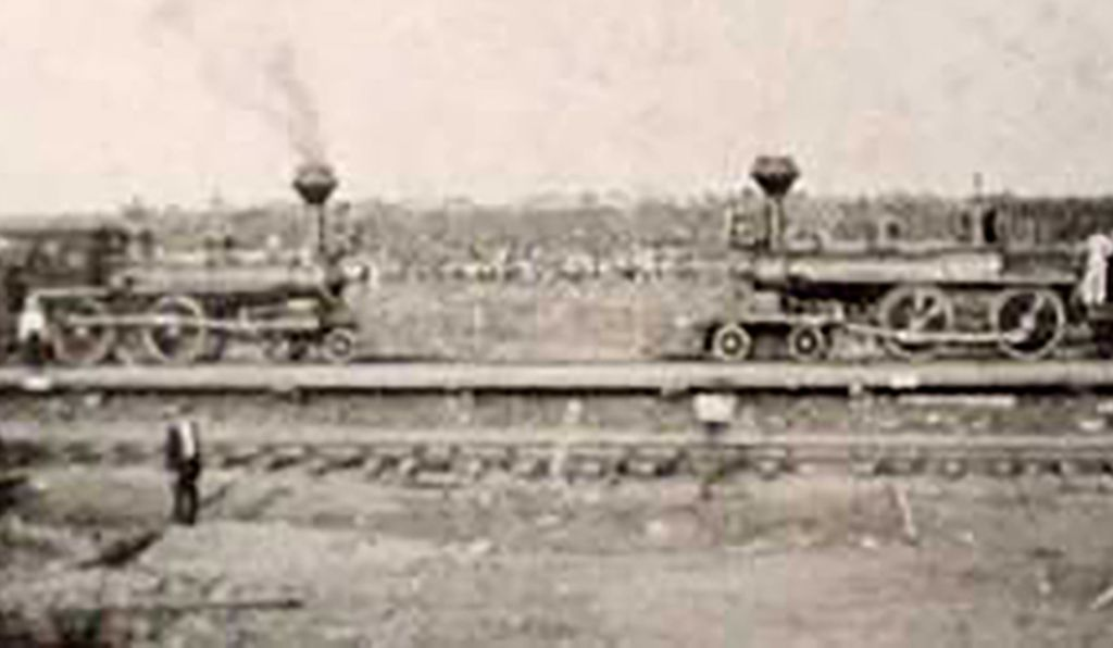 The trains before facing off for their big crash, in the pop-up town of Crush, Texas.