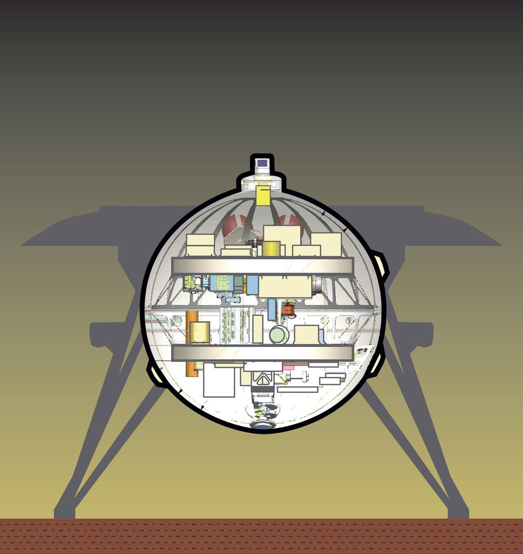 infographic showing the two decks inside the Venus lander